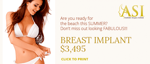 A special offer of $3495 for a breast implant at Aesthetic Surgery Institute, Houston (TX).