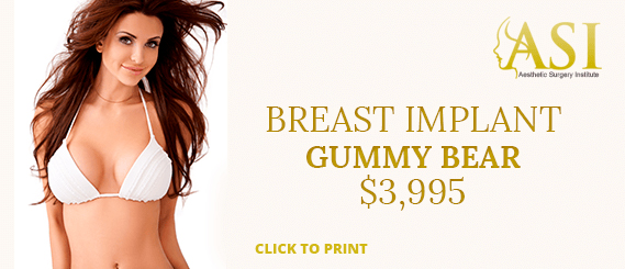 A special offer of $3995 for a gummy bear breast implant at Aesthetic Surgery Institute, Houston (TX).