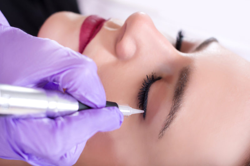 permanent makeup being applied