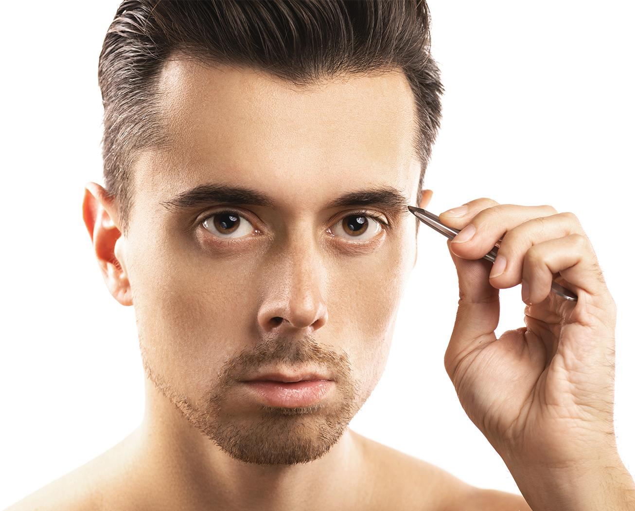 Man Plucking Eyebrow